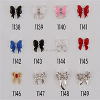 Ready Pre Made Christmas Nail Art Bow With Rhinestone