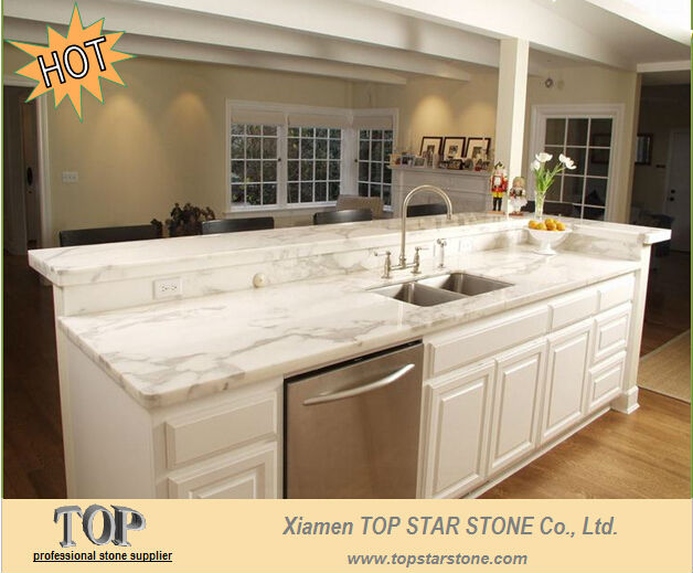Calcutta Gold Marble Prefabricated Kitchen Top