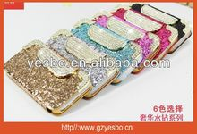 Fish scales pattern leather case for iphone 4S/5S Buckle Magnetic wallet diamond with credit card holder