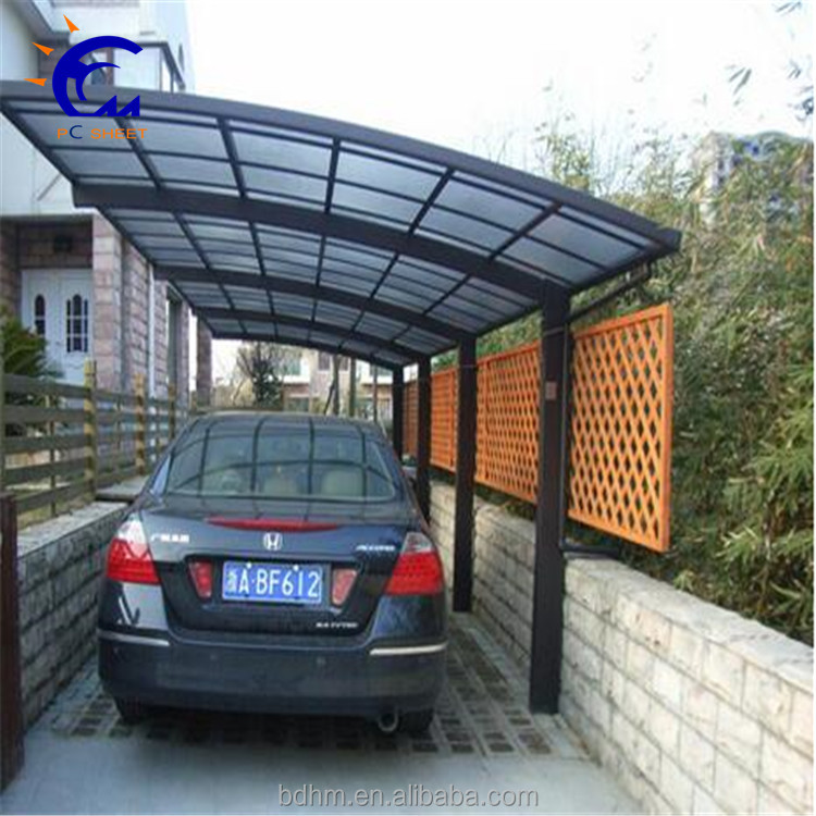 Plastic building material aluminum frame 2-joint carport with polycarbonate roof