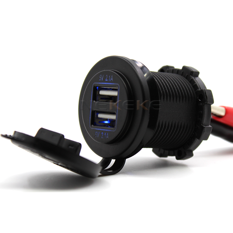Dual bus USB Charger Socket Power Outlet 2.1A & 2.1A for Car Boat Marine Mobile (4.2A-Blue)