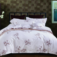 4pcs 100% cotton 300tc sateen white and printed single size hotel bed set bedding set