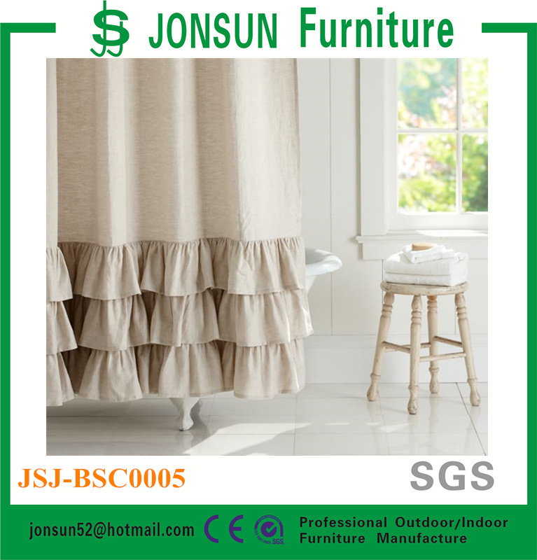 Jonsun 100% linen ruffle shower curtain home goods shower curtains