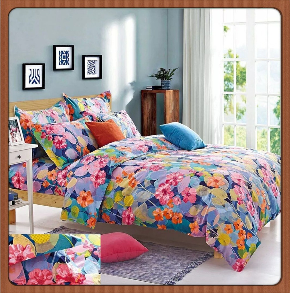 home clean close colorful bed sheet bedding set