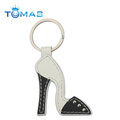 leather shoe keyring with stitches