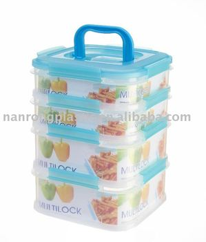 STACKABLE FOOD CONTAINER WITH LOCKS