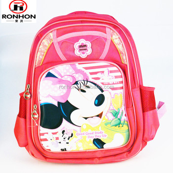 pink mickey cartoon characters school bag oxford kids school bags