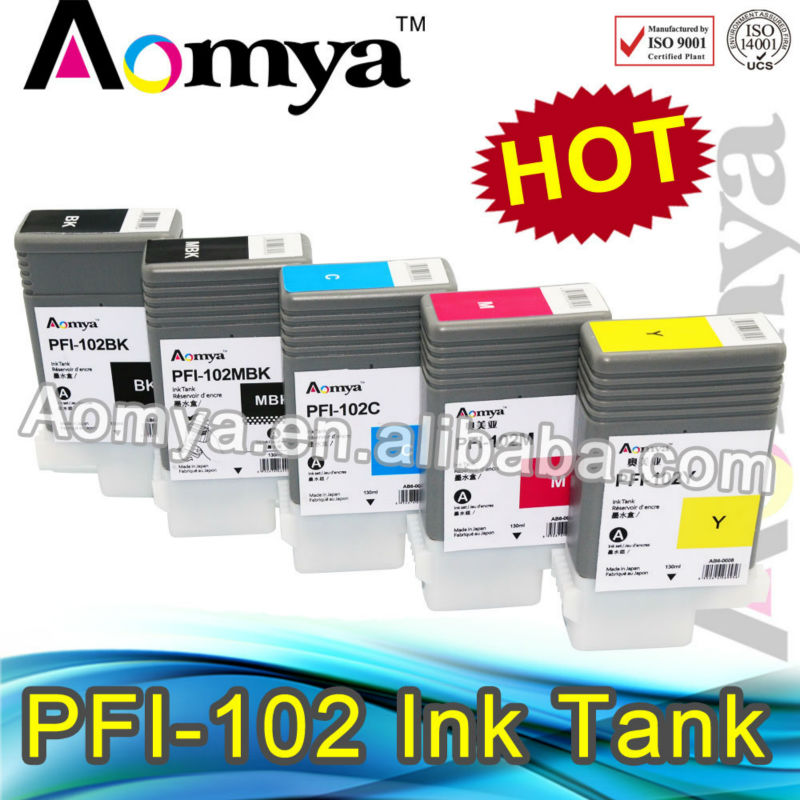 2016 latest Larger format ink cartridge pfi 102 for Canon iPF 600