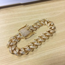 Men Iced Out HipHop CZ Miami Cuban Link& Bracelet Chain