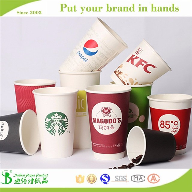 2017 Hot sell 12oz 16oz 18oz biodegradable disposable copper drinking cups paper cup 16oz
