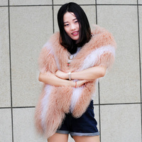 CX-S-178B Tongxiang Chengxing Wholesale Genuine Mongolian Sheep Fur Poncho Shawl