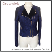 Women's clothing new style leather jacket with double oblique zipper