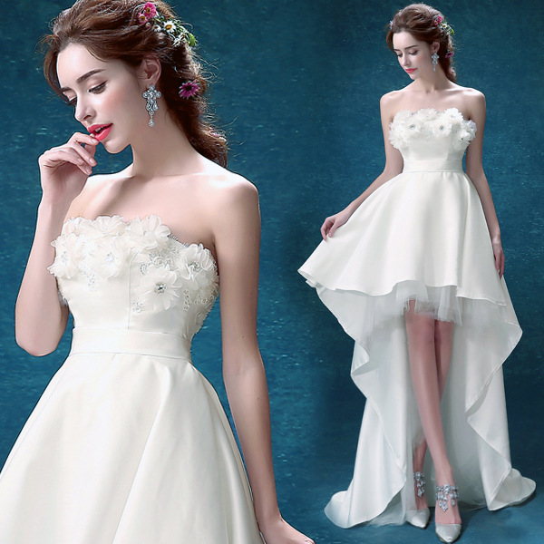 C71506A Wedding white short front long back princess wedding dress with flower