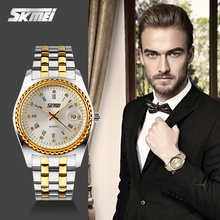 2016 Newest Day Date Mens Watch gold face and Stainless Steel Water Resistant Japan Movt quartz watch fashion watch