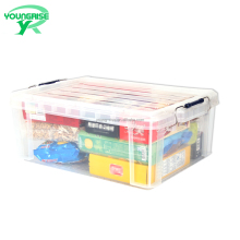 25 L Clear Sundries Organizer Box Plastic Home Clothing Storage Container Bin With Handle and Lid Sale