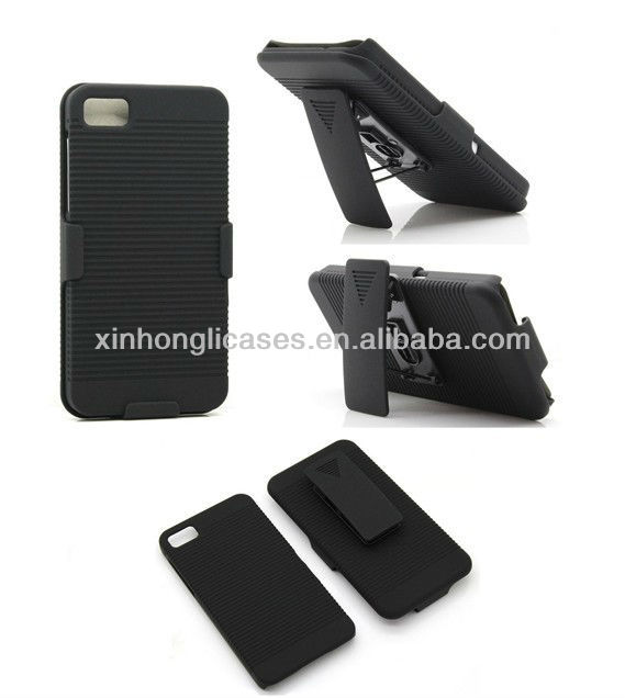 Hard Black Swivel Belt Clip Shell Holster Combo Case + Stand for Blackberry Z10