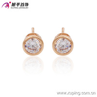 90146-xuping fashion jewelry rose gold diamond single stone elegant cheap earrings designs