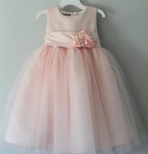 2017 latest design wholesale baby Clothes one piece summer stain cheap Children's Boutique fashion pink baby girl wedding dress