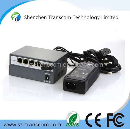 4 port POE switch 1 SC fiber port/4 high power POE ports / POE switch 4 port