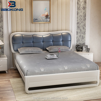Solid Wooden Double Bed With PU Leather Headboard