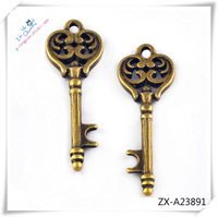 Key Shape Vintage Retro Copper Golden Metal Necklace Pendent , custom stainless steel pendant ZX--A23891