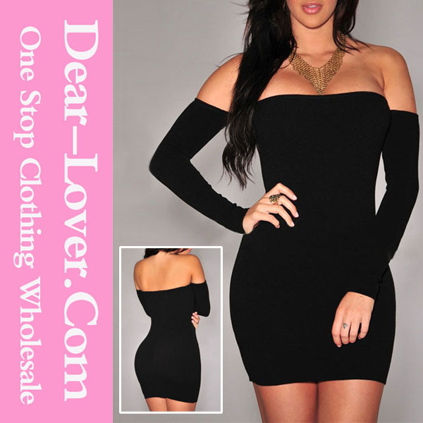 Designer 2015 Black Off-The-Shoulder Long Sleeves Dress dropshipping women clothing