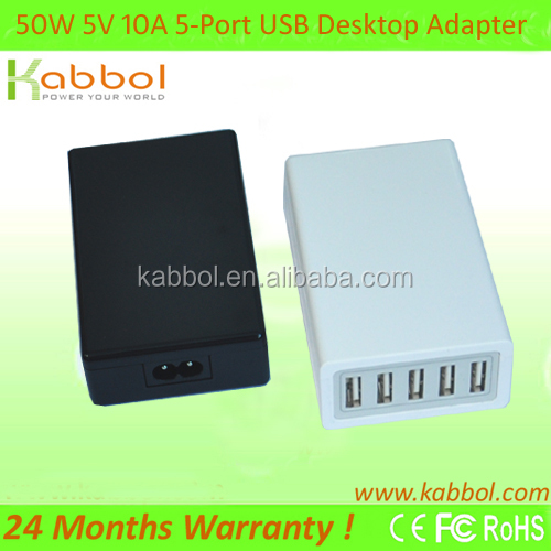 Kabbol 50W 5V/10A 5-Port Wall to USB Travel A/C Power Adapter Charger for iPad 2 iPhone 3G 3GS 4 4G ipod shuffle nano classic to