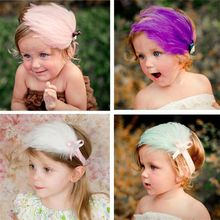Professional hair accessories factory wholesale elastic feather baby headbands