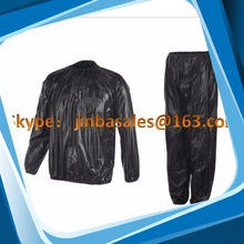 black or sliver gray pvc sauna suit for lose weight training sports