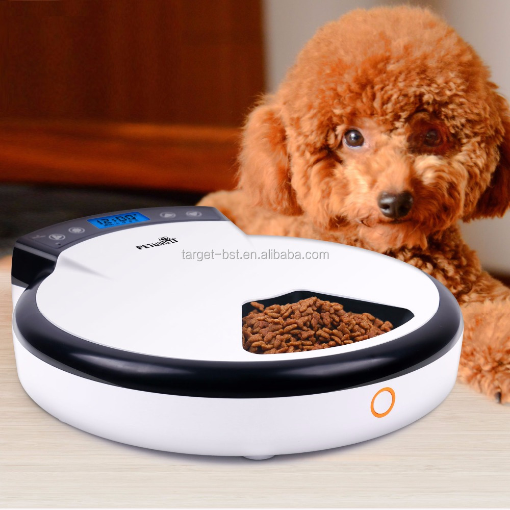 HOTINLEE 5 Meals Automatic Puppy Pet Food Dispenser for Cat and Puppy Dog Feeder