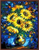 abstract sunflower with vase handpainted oil painting on canvas painting by number GX6416 wholesales art suppliers yiwu