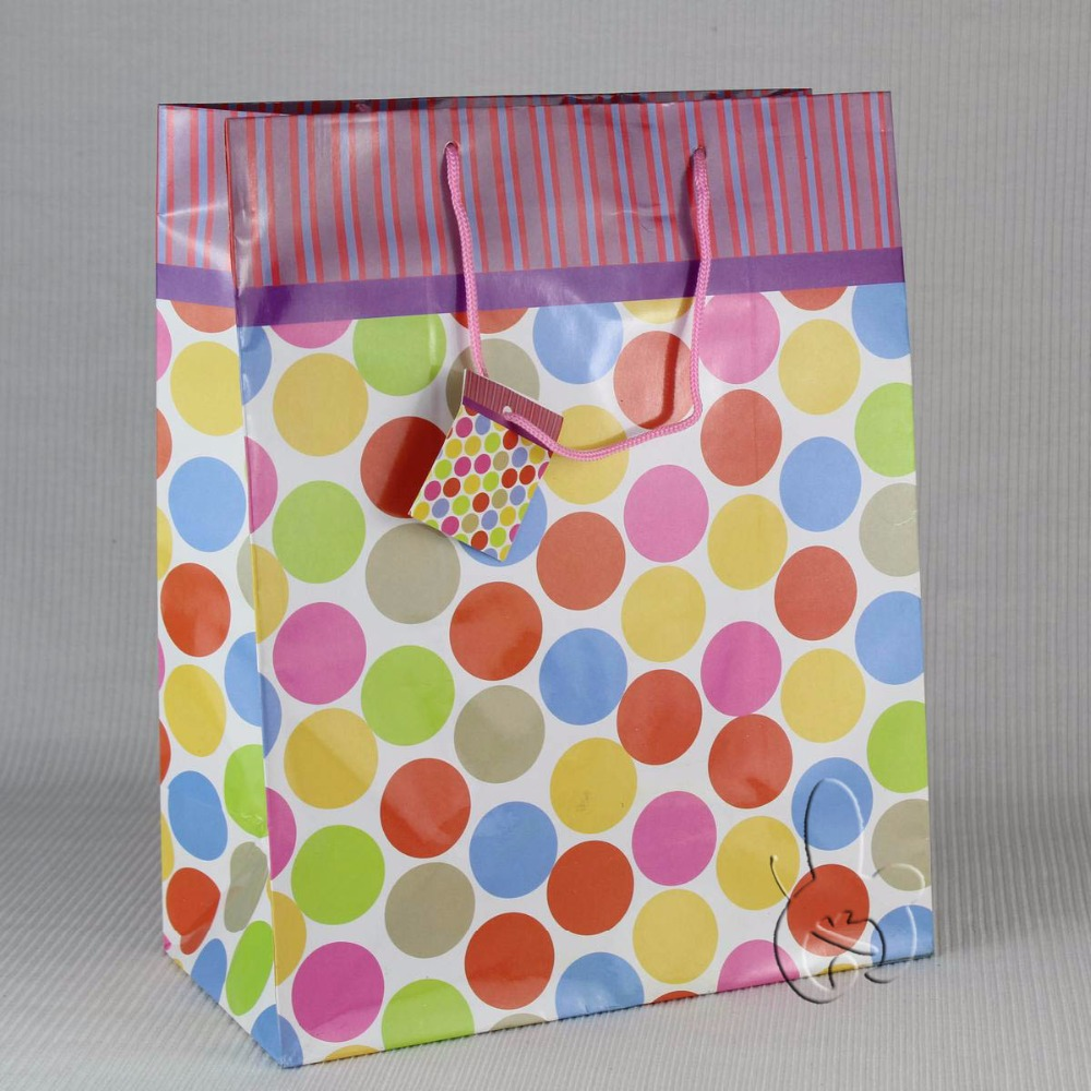 """popular murah recyclable colorful polka dot paper gift bag for promotional activities"""
