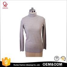 Latest design ladies knitwear manufacturer basic high turtle neck knitted pullover blank sweater