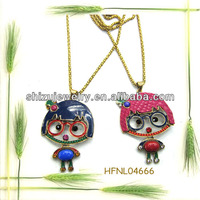 muiltcolor rhinestone natural stone cute boy and girl pendant necklace for lovely girls