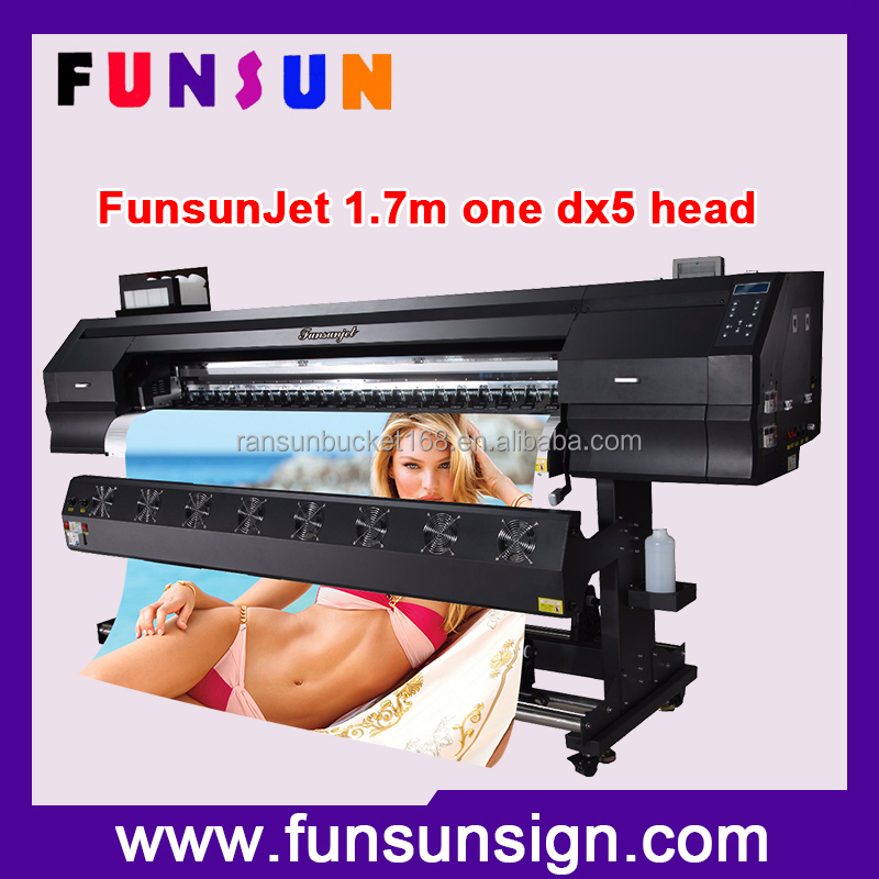 Funsunjet FS-1700K best price 21sqm one hour 1.7m flex banner plotter large format eco solvent printer with DX5 head