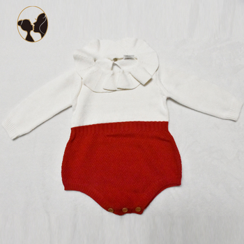 100% cotton christmas sweater baby romper with snap crotch bodysuit for baby girls