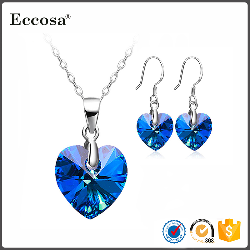 2017 Valentine Day Jewelry Gifts 925 Sterling Silver Heart Of The Ocean Necklace Hook Earrings Set Jewelry