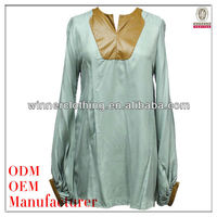 high quality 100% silk fashion design muslim lady blouse from China