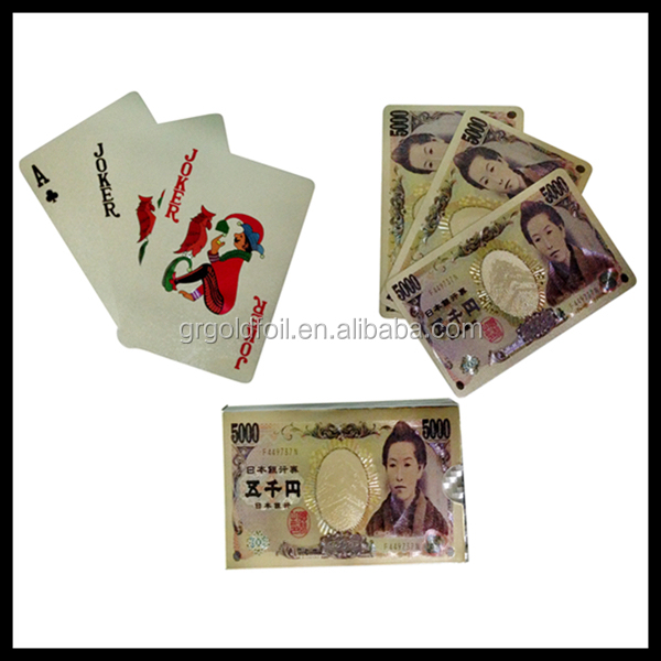 Nice Customized Printed Poker Gold Foil Playing Cards Japanese Yuan playing card
