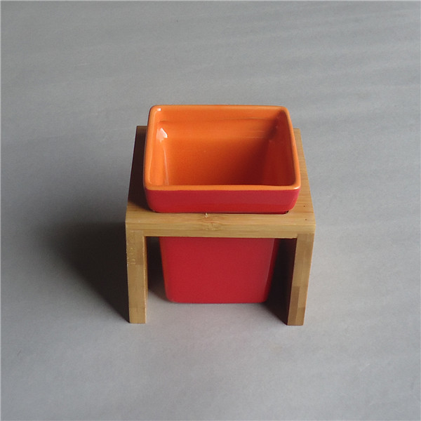 Colorfully high quality tea time used custom ceramic square dessert cup with bamboo stand