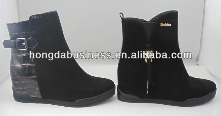 Hidden heel genuine leather boots women in Korea