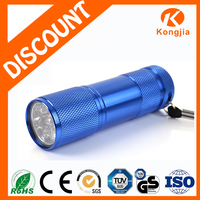 Customized Mini Size Bright AAA Dry Battery 9 LED Strong Light Emergency Used AAA Aluminum Flashlight