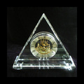 New crystal glass gold mechanical clock for VIP customer gift