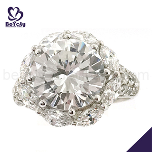 Hot sale pave cz 925 sun silver diamond ring