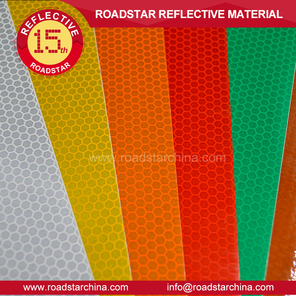 China Roadstar High Intensity Grade Reflective Adhensive Sheeting Tape Sign Reflector Stickers Warning Sign Film