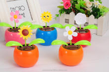 flower toy solar powered swing flip flap dancing flowers, car decorative gift sun doll factory solar apple