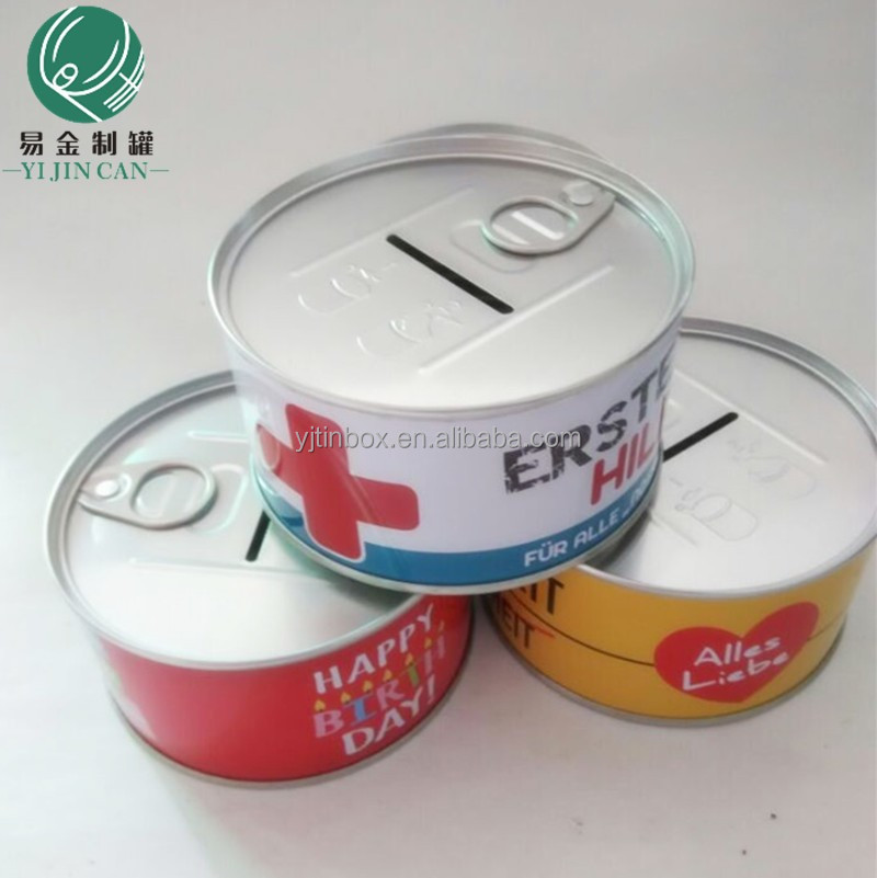 New cion bank is coming! Tinplate welding can, 401 standard mold, round container coin bank