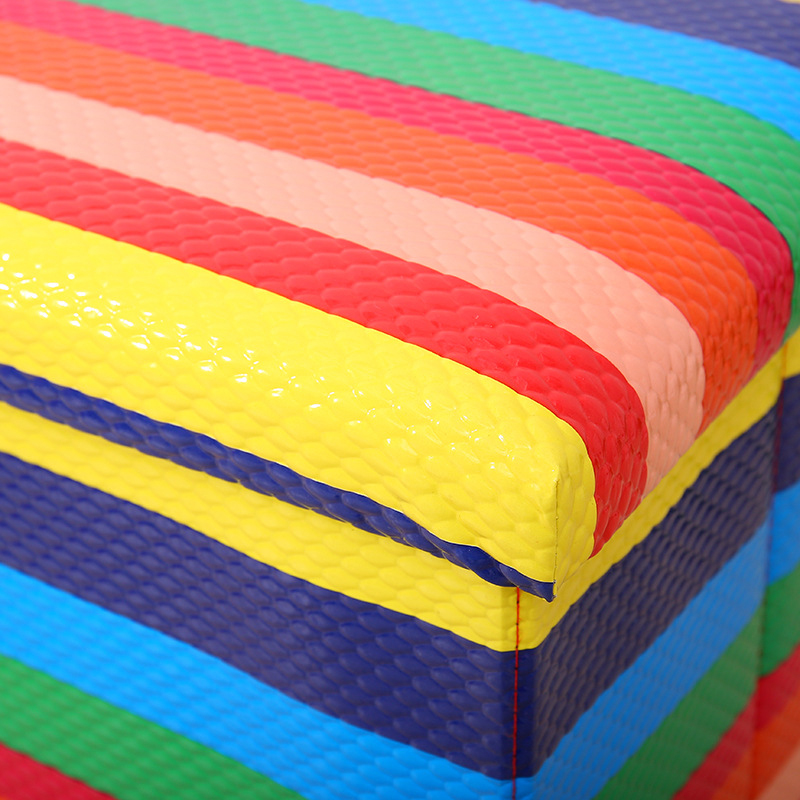 Eoc-friendly  Coloful Cube Printed Rainbow  Storage Ottoman Stool