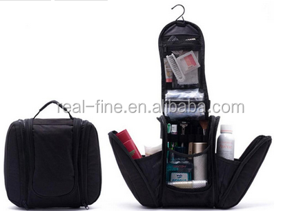 2015 Black New Shaving men's travel bags Deluxe Large Hanging Hook Travel Toiletry Kit bag Cosmetic Bags