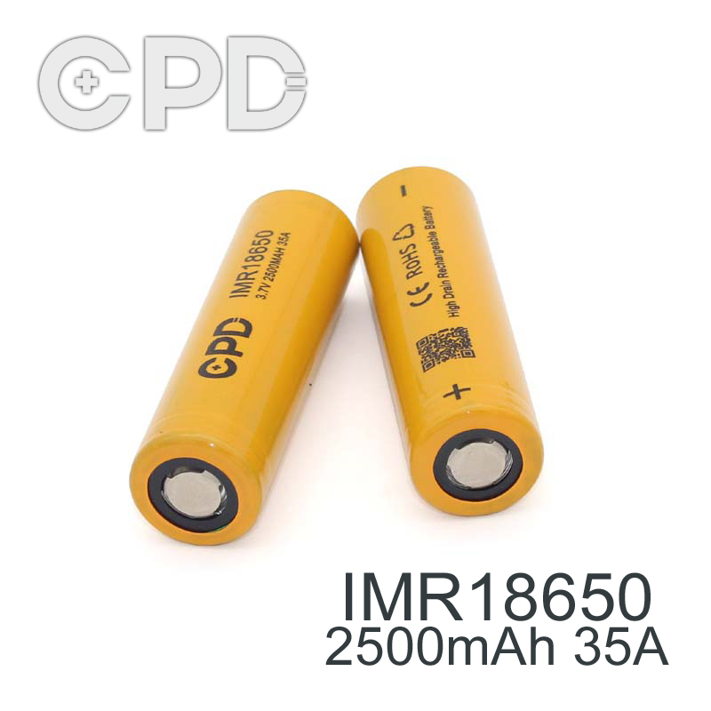 CPD IMR 18650 3.7v rechargeable battereis 2500mah 18650 35A li ion battery